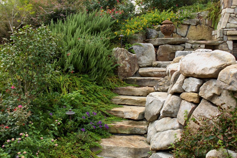 Boulder Steps Planted with Perennials Herbs, Garden Architects, Inc.