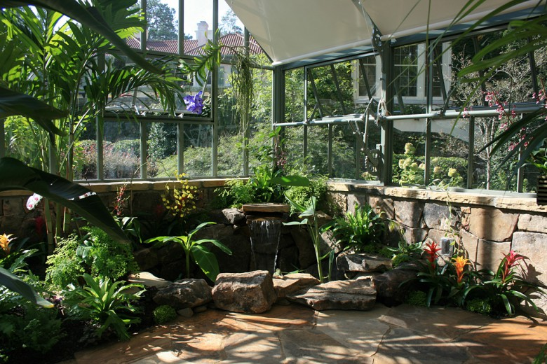 English Style Greenhouse with Water Feature, Garden Architects, Inc.