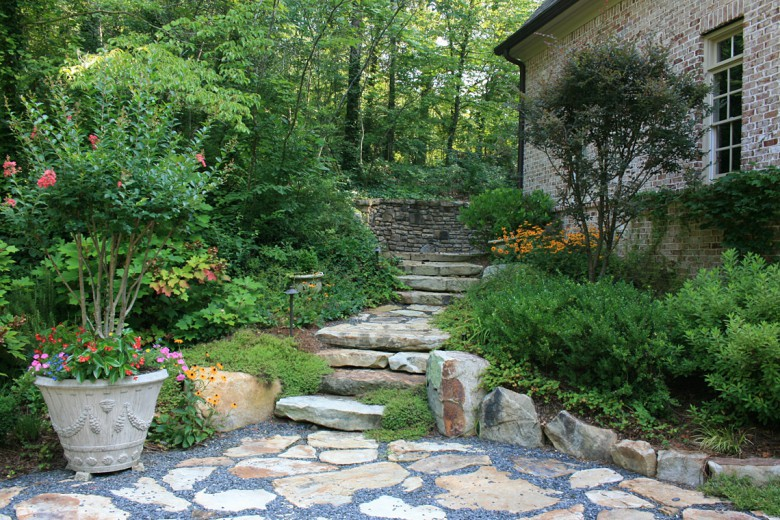 Stone Slab Steps and Terrace with Crushed Granite, Garden Architects, Inc.